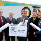 Pictured with Ulster GAA's planning application for a new stadium at Casement Park in west Belfast is Brian McAvoy, chief executive of Ulster GAA, Michael Hasson, president Ulster GAA, Tom Daly, chairman of the Casement Park project board, Collie Donnelly, Chairman Antrim County Board and Stephen McGeehan, project Sponsor
