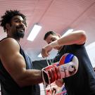 Top team: David Haye with trainer Shane McGuigan ahead of Saturday's clash with Tony Bellew
