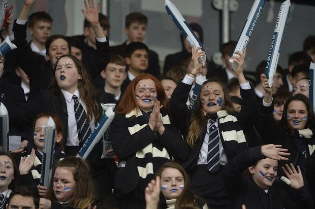 Danske Bank Schools cup semi final match between BRA and Methody at the Kingspan stadium. Methody supporters pictured during todays game Photograph by Presseye/Stephen Hamilton