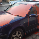 The car which was paint-bombed overnight.