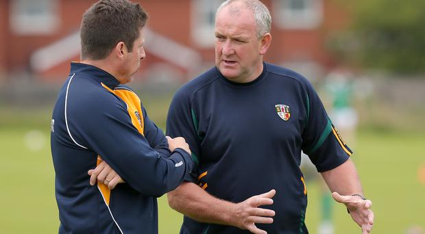 Under pressure: Joint Antrim managers Geroid Adams and Frank Fitzsimmons have a tough task on their hands