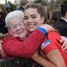 Ellen Reid of Banbridge Academy receives a big hug from grandmother Hazel. Pic: Rowland White / PressEye