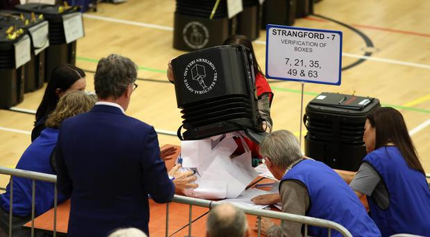 Assembly Election 2017 Count at Aurora Leisure Complex in Bangor for Strangford and North Down constituencies.