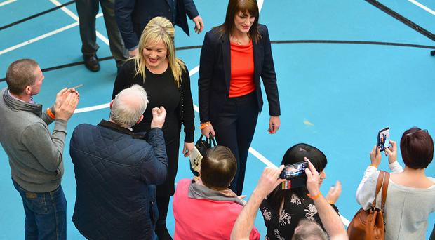 Ballots are counted in Ballymena, County Antrim for North Antrim and Mid-Ulster. Sinn Fein's Michelle ONeill arrives at the count centre with candidates Ian Milne and Linda Dillon. Picture By: Arthur Allison. Pacemaker