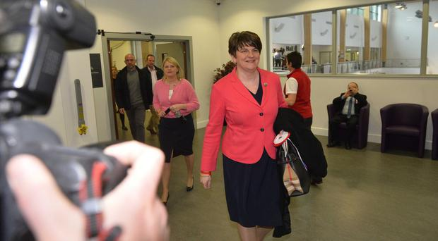 Northern Ireland Assembly election 2017, Omagh Leisure centre, Co Tyrone. Pictured is First Minister Arlene Foster arriving for the count. Picture Mark Marlow/pacemaker press