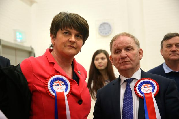 DUP party chairman Lord Morrow (right) with DUP leader Arlene Foster at Omagh count centre as he failed to be re-elected in Northern Ireland's Assembly election. PA
