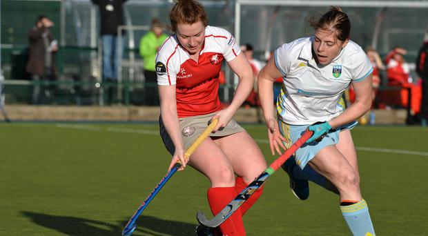 Clash: Stephanie Thompson (Pegasus) comes up against fellow Ulster girl Katie Mullan (UCD)