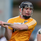 On target: Antrim's Ciaran Clarke fires in his side's goal