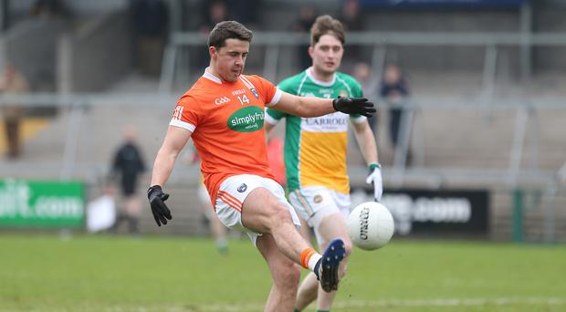 Hotshot: Stefan Campbell led the Armagh scoring blitz in the route of Offaly at the Athletic Grounds