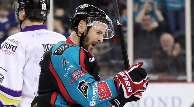 Get in: Colin Shields celebrates scoring against Manchester Storm