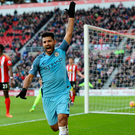 Happy man: Sergio Aguero celebrates opening the scoring