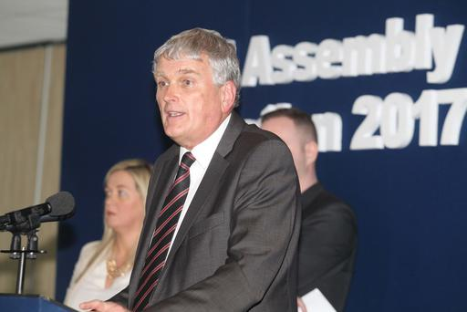 The DUP's Jim Wells delivers his victory speech following his election in South Down. Pic: Matt Bohill Pacemaker.