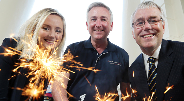 Lynsey Cunningham with Ken Whipp and Richard Donnan of Ulster Bank