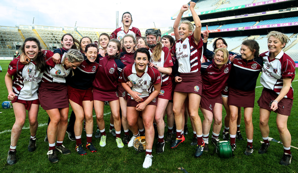 So special: the Slaughtneil celebrations at Croke Park on Sunday after the All-Ireland camogie success