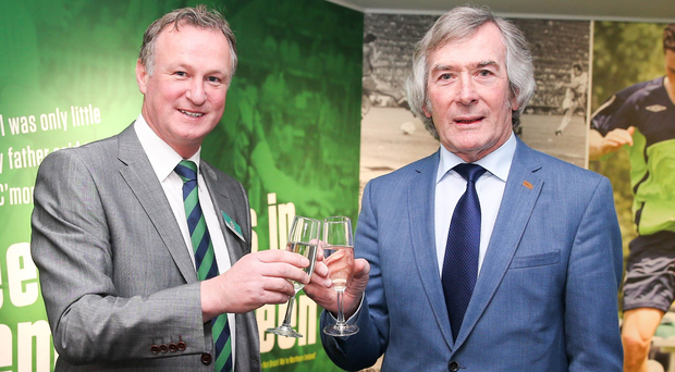 Touch of glass: Michael O'Neill (left) and Pat Jennings at the launch of the new Education and Heritage Centre at Windsor Park yesterday