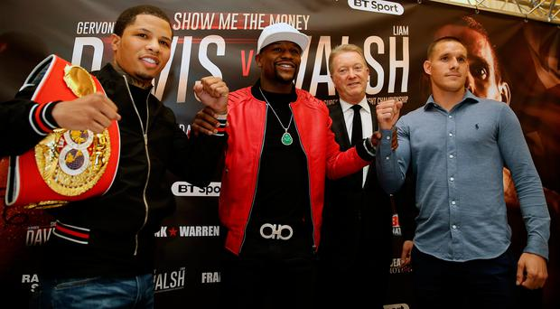 Star quality: Co-promoter Floyd Mayweather (second left) with Gervonta Davis, co-promoter Frank Warren and Liam Walsh