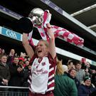 Work pays off: Slaughtneil captain Aoife Cassidy celebrates All-Ireland camogie success after the victory over Sarsfields at Croke Park on Sunday
