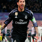 Sergio Ramos of Real Madrid celebrates after scoring