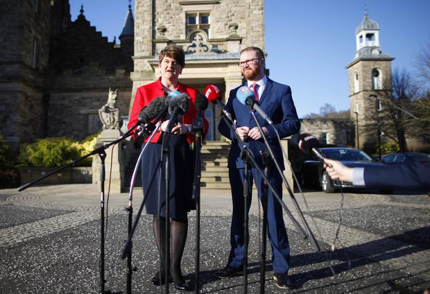 DUP leader Arlene Foster and party member Simon Hamilton MLA speak to the media before talks at Stormont Castle. Photo by Peter Morrison / PressEye Wednesday 8th March 2017