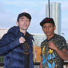 Head to head: Jamie Conlan (left) and Yader Cardoza square up at Waterfront Hall yesterday ahead of tomorrow night's big fight