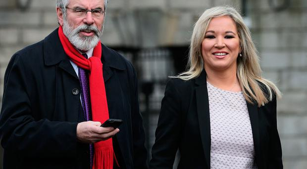 Sinn Fein's Gerry Adams and Michelle O'Neill have begun negotiations