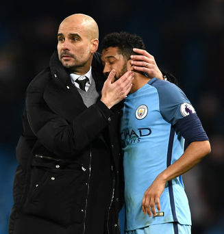 Slip-up: Pep Guardiola and Gael Clichy know they missed out