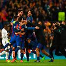 BARCELONA, SPAIN - MARCH 08: Barcelona players celebrate victory after the UEFA Champions League Round of 16 second leg match between FC Barcelona and Paris Saint-Germain at Camp Nou on March 8, 2017 in Barcelona, Spain. Barcelona won by 6 goals to one to win 6-5 on aggregate. (Photo by Laurence Griffiths/Getty Images)