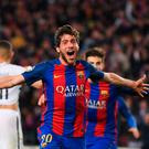 Spectacular: Sergi Roberto celebrates his late winner for Barcelona against PSG at the Nou Camp
