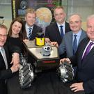 From left, Ulster University vice chancellor Professor Paddy Nixon, Professor Cathy Gormley-Heenan, Professor Liam Maguire, John Healy from IT firm Allstate, Peter Devine of Ulster University and Greg McDaid from Fujitsu