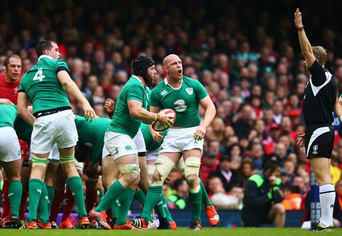 Flashback: Devin Toner, Sean O'Brien and Paul O'Connell react to referee Wayne Barnes' decision during Ireland's clash with Wales in 2015