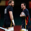 Raring to go: Wales captain Alun Wyn Jones (left) and Sam Warburton at the Principality Stadium yesterday