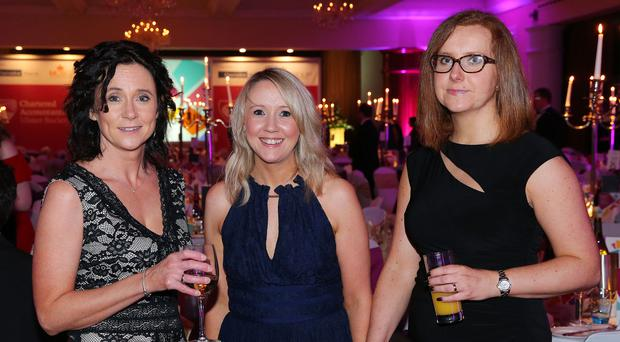 Vicky Leitch, Stephanie Johnston and Eva Mrazikova pictured at the Chartered Accountants Ulster Society Annual Dinner in the Culloden Hotel Photo by Kelvin Boyes / Press Eye