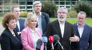 Sinn Fein's Stormont leader Michelle O'Neill and President Gerry Adams lead their party from Stormont Castle, to talk to the media, where ongoing talks are being held to try and get the NI Assembly up-and-running after last week's election. Photo by Jonathan Porter / Press Eye.