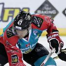Belfast Giants' Adam Keefe with Nottingham Panthers' Miika Wiikman during Friday nights Elite Ice Hockey League game at the SSE Arena, Belfast. Press Eye