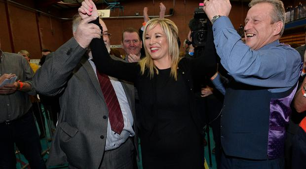 Winning smile: Sinn Fein's northern leader Michelle O'Neill after topping the poll in Mid Ulster