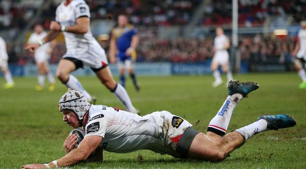 Ulster's Luke Marshall goes over for his second try of the night (Picture by Darren Kidd / Press Eye)