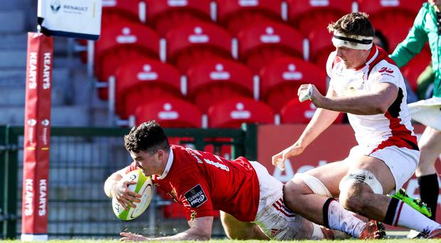 Take that: former Ulster player Sam Arnold crosses for Munster A