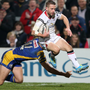 Strong showing: Paul Marshall runs in another try for Ulster