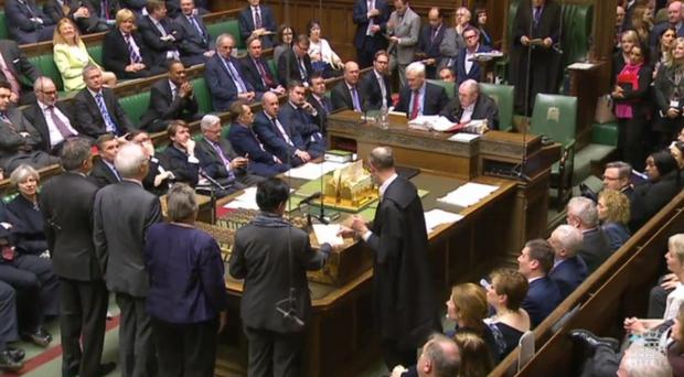 MPs return their result after voting to reject Lord's amendment on EU nationals rights in the House of Commons, London (PA)