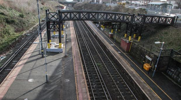 A deserted Hunt's Cross railway station in Liverpool