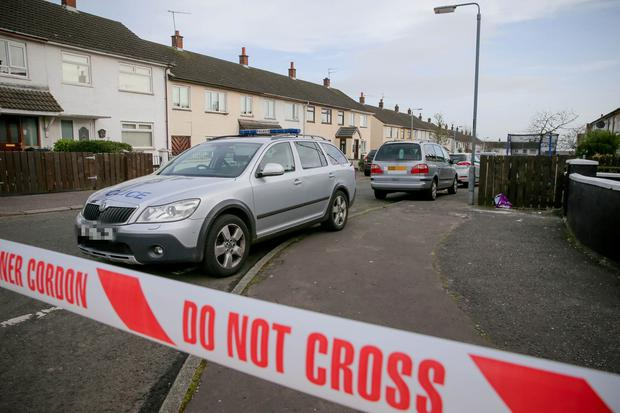 Police at the scene of the shooting. Picture: Philip Magowan / PressEye