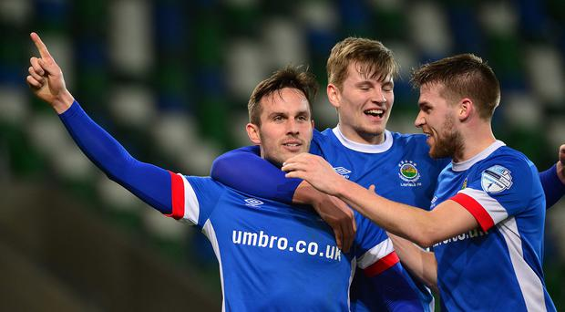 PACEMAKER BELFAST 13/03/2017 Linfield v Cliftonville Danske Bank Premiership. Linfield's Andrew Waterworth pictured after scoring his teams 2nd goal during this evenings game at Windsor park in Belfast. Picture By: Arthur Allison/Pacemaker Press