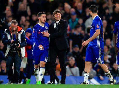 Chelsea manager Antonio Conte and Eden Hazard celebrate at full time during the Emirates FA Cup, Quarter Final match at Stamford Bridge, London. Adam Davy/PA Wire.