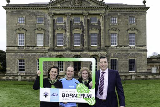 Carol McMenamin (BORN2RUN), Barry Spence (Category Manager Hovis), Jane Rowe (BORN2RUN) & Trevor McCrum (Commercial Director Hovis) at the launch of the Castleward Challenge.