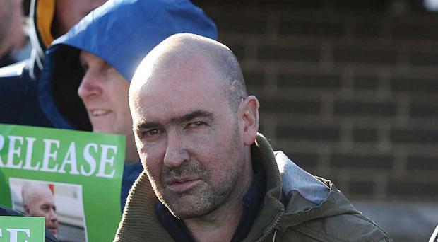 Picture taken on 5th November 2012 of Belfast Republican Sean Kelly during Sinn Fein protest at PSNI Headquarters over the arrest of republican Padraic Wilson.