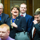 Arlene Foster at Stormont for the first day of the new Assembly term. (Photo - Kevin Scott / Belfast Telegraph )