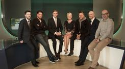 Sunday Life Spirit Of Northern Ireland launch at UTV (left to right: Martin Breen, Sunday Life Editor, Keith Duffy of Boyzlife, Marc Mallett of UTV, UTV's Pamela Ballantine, Brian McFadden of Boyzlife, Specsavers NI chairman Brian O'Kane and Terry Brennan of UTV)