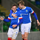 Getting close: Andy Waterworth hails his strike against Cliftonville, his 99th Linfield goal. Photo: Arthur Allison/Pacemaker