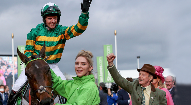 Champion feeling: Noel Fehily hails his Champion Hurdle victory aboard Buveur D'Air on day one of the Cheltenham Festival. Photo: Dan Sheridan/INPHO