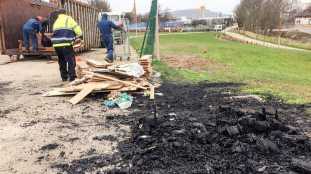 Bonfire material being removed from Connswater Greenway. Pic: BBC